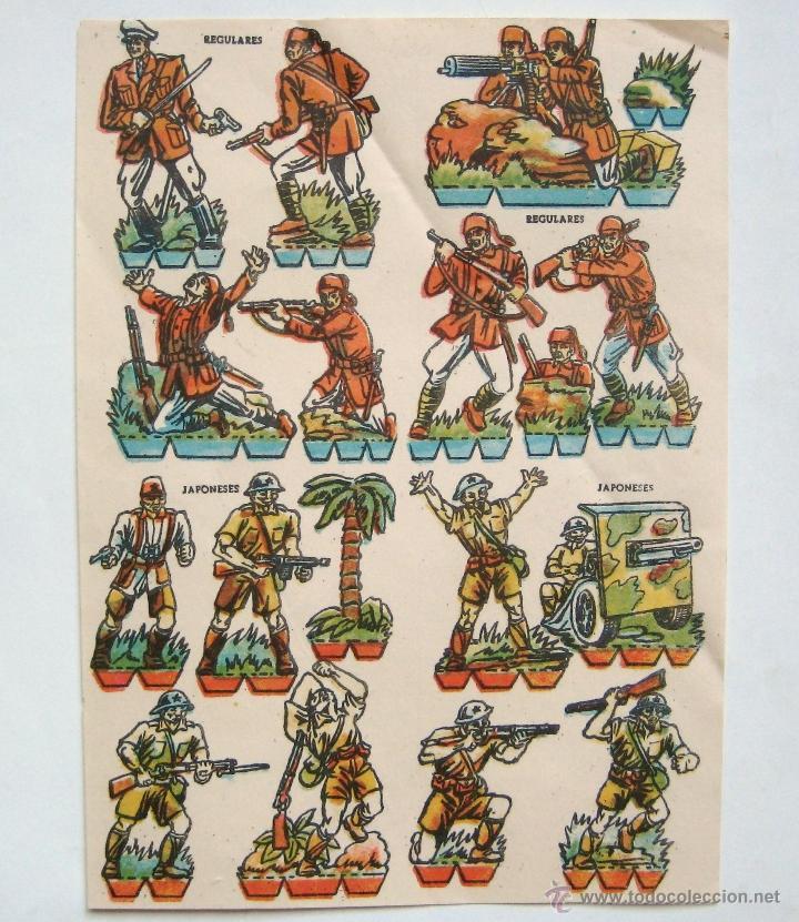 LAMINA RECORTABLE REGULARES JAPONESES AÑOS 40-50 (Coleccionismo - Recortables - Soldados)