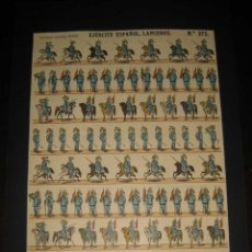 Coleccionismo Recortables: ANTIGUA LAMINA DE RECORTABLES PALUZIE Nº 275, EJERCITO ESPAÑOL LANCEROS - ESTAMPERIA ECONOMICA, IMPR. Lote 38260287