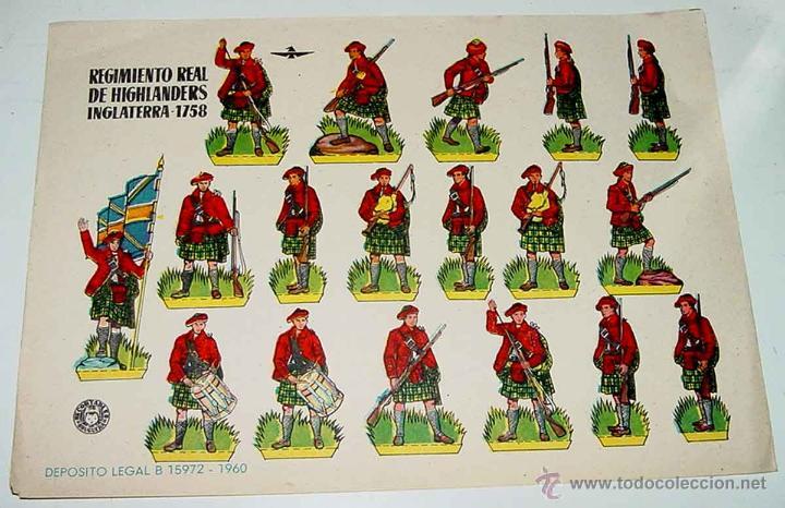 ANTIGUO RECORTABLE BRUGUERA - REGIMIENTO REAL DE HIGHLANDERS INGLATERRA 1758 - AÑO 1960 - 23,5 X 17 (Coleccionismo - Recortables - Soldados)