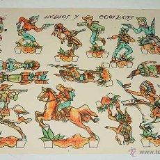 Coleccionismo Recortables: ANTIGUO RECORTABLE DE LA INDIOS Y COWBOYS, ILUSTRADOR RIBAS , MIDE 29 X 21 CMS.. Lote 38265636
