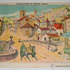 Coleccionismo Recortables: ANTIGUO RECORTABLE ED. PALUZIE - DECORACIONES DE TEATRO - PUEBLO - Nº 1038 - MIDE 38 X 25,5 CMS.. Lote 38265914