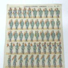 Coleccionismo Recortables: ANTIGUA LAMINA DE RECORTABLES PALUZIE Nº 251, EJERCITO ESPAÑOL LANCEROS, PIE A TIERRA - ESTAMPERIA E. Lote 38271764