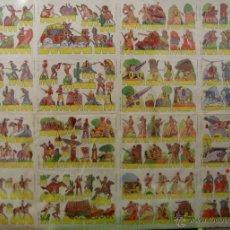 Coleccionismo Recortables: GRAN LÁMINA 110 X 90 CM. CON 145 RECORTABLES SOLDADOS, INDIOS Y COW-BOYS. ED. ROMA. CA. 1950. Lote 42559475