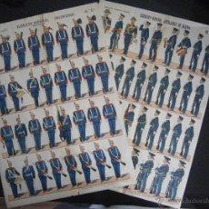 Coleccionismo Recortables: DOS LAMINAS DE 29 X 40 CM AÑOS 30 TRAJE GALA EJERCITO ESPAÑOL INGENIEROS Y DE ARTILLERIA DE MARINA. Lote 43109886