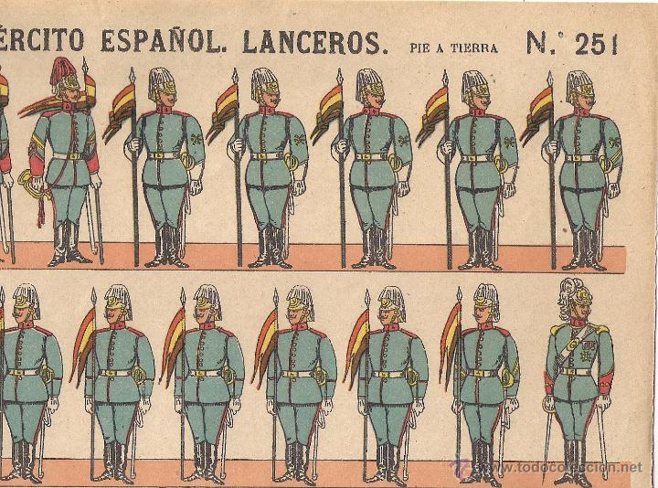 RECORTABLE PALUZIE - EJÉRCITO ESPAÑOL , LANCEROS - Nº 251, PIE A TIERRA (Coleccionismo - Recortables - Soldados)
