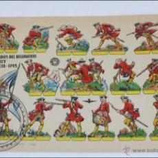 Coleccionismo Recortables: HOJA DE SOLDADOS RECORTABLES BRUGUERA. REGIMIENTO REY DE FRANCIA 1743 - 1960 - MEDIDAS 24 X 17 CM. Lote 45565857