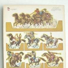 Coleccionismo Recortables: LÁMINA RECORTABLE DE INDIOS Y VAQUEROS. Lote 199879110