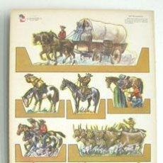 Coleccionismo Recortables: LÁMINA RECORTABLE DE INDIOS Y VAQUEROS,GRANDE. Lote 47931915