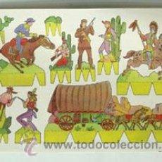 Coleccionismo Recortables: LÁMINA RECORTABLE DE INDIOS Y VAQUEROS. Lote 47932354