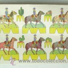 Coleccionismo Recortables: LÁMINA RECORTABLE DE INDIOS Y VAQUEROS. Lote 47932430
