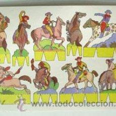 Coleccionismo Recortables: LÁMINA RECORTABLE DE INDIOS Y VAQUEROS. Lote 47932587