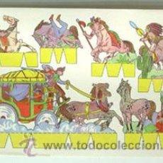 Coleccionismo Recortables: LÁMINA RECORTABLE DE INDIOS Y VAQUEROS. Lote 47932826