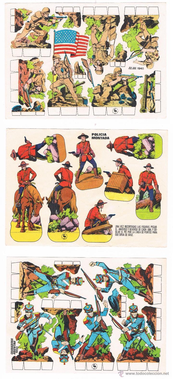 LOTE 3 RECORTABLES POLICIA MONTADA CANADA, GRANADEROS, EJERCITO EEUU AÑOS 70 (Coleccionismo - Recortables - Soldados)