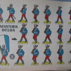 Coleccionismo Recortables: LÁMINA RECORTABLE BRUGUERA. INFANTERÍA BELGA. 1960. ORIGINAL.. Lote 52448393