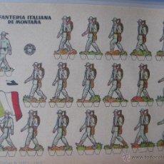 Coleccionismo Recortables: LÁMINA RECORTABLE BRUGUERA. INFANTERÍA ITALIANA DE MONTAÑA. 1960. ORIGINAL.. Lote 52448477
