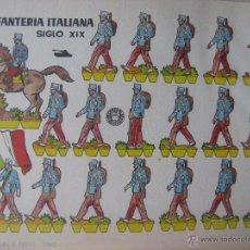 Coleccionismo Recortables: LÁMINA RECORTABLE BRUGUERA. INFANTERÍA ITALIANA SIGLO XIX. 1960. ORIGINAL.. Lote 52448489