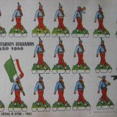Coleccionismo Recortables: LÁMINA RECORTABLE BRUGUERA. VOLUNTARIOS ITALIANOS AÑO 1860. 1961. ORIGINAL.. Lote 52454885