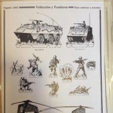 Coleccionismo Recortables: VEHÍCULOS Y FUSILEROS PARA RECORTAR Y COLOREAR. ESPAÑA 1985. DELFIN SALAS.. Lote 54892964