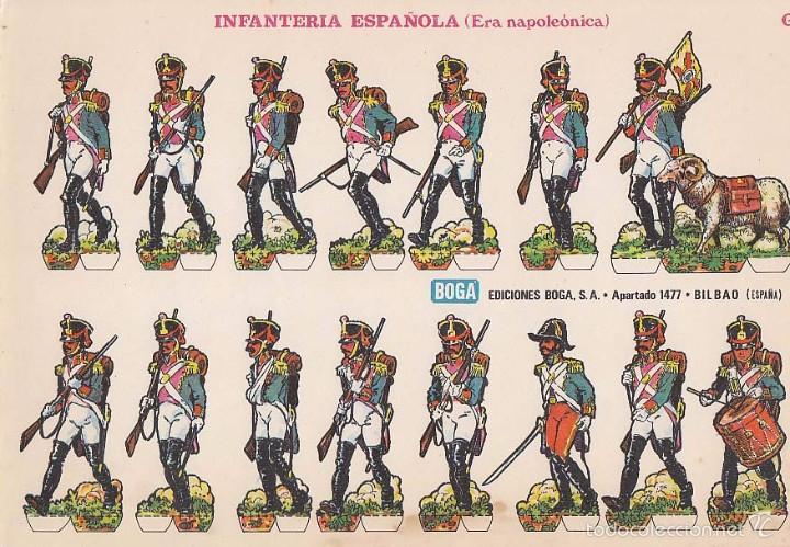 RECORTABLE, INFANTERIA ESPAÑOLA (ERA NAPOLEONICA). EDICIONES BOGA G. MEDIDAS 21 X 31 CMS. (Coleccionismo - Recortables - Soldados)