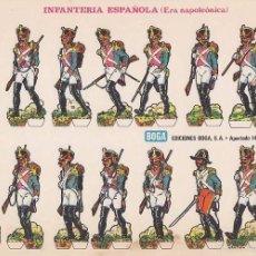 Coleccionismo Recortables: RECORTABLE, INFANTERIA ESPAÑOLA (ERA NAPOLEONICA). EDICIONES BOGA G. MEDIDAS 21 X 31 CMS.. Lote 101368863