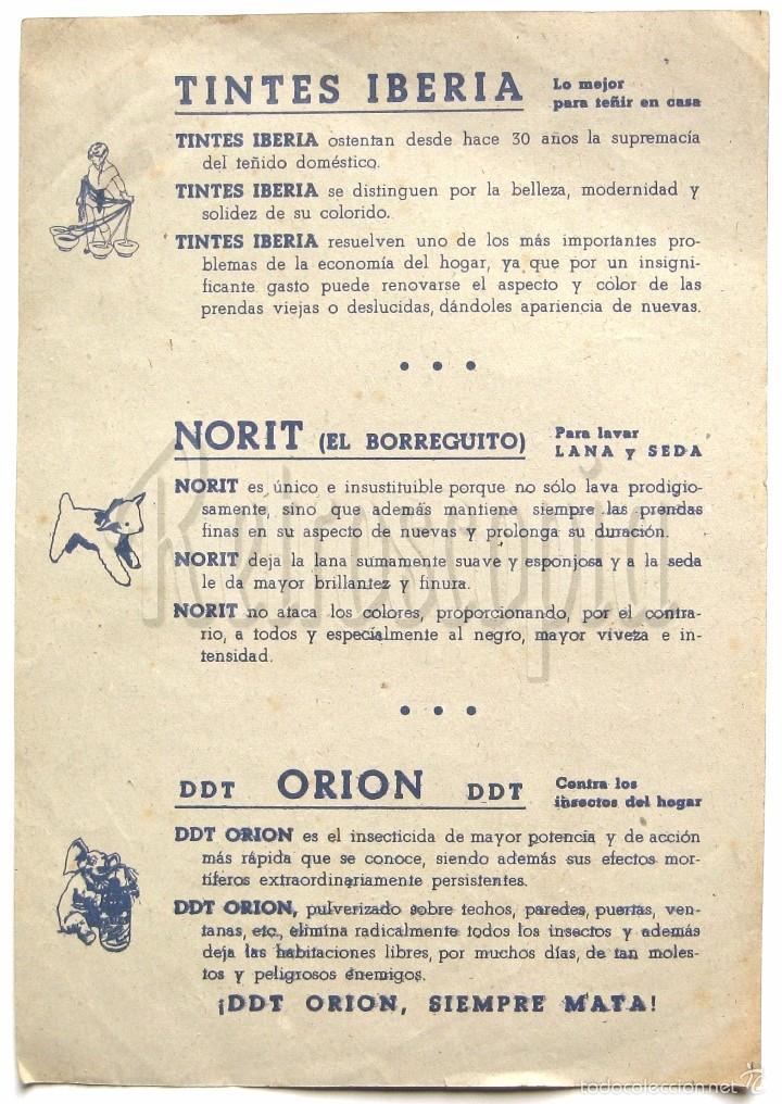 Coleccionismo Recortables: RECORTABLE PUBLICIDAD TINTES IBERIA NORIT DDT ORION INDUSTRIAS MARCA: SOLDADOS - Foto 2 - 57043122
