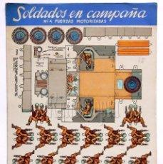 Coleccionismo Recortables: CUADERNO DE LÁMINAS RECORTABLES SOLDADOS EN CAMPAÑA Nº 4 FUERZAS MOTORIZADAS ED: ROMA AÑOS 60. Lote 57714822
