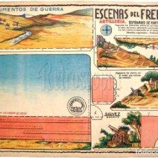 Coleccionismo Recortables: LAMINA RECORTABLE ESCENAS DEL FRENTE. ARTILLERIA. SOLDADOS. CONSTRUCCIONES COSTALES. GALVEZ AÑOS 50. Lote 61729568