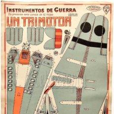 Coleccionismo Recortables: LAMINA RECORTABLE INSTRUMENTOS DE GUERRA Nº 4 UN TRIMOTOR. CONSTRUCCIONES COSTALES. GALVEZ AÑOS 50. Lote 61730008