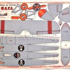 Coleccionismo Recortables: LAMINA RECORTABLE INSTRUMENTOS DE GUERRA Nº 9 UN CAZA AVION. CONSTRUCCIONES COSTALES. GALVEZ AÑOS 50. Lote 61730412