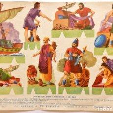 Coleccionismo Recortables: LAMINA RECORTABLE Nº 1 COMERCIO ENTRE FENICIOS E IBEROS. HISTORIA DE ESPAÑA. ROMA BARCELONA AÑOS 60. Lote 61974668