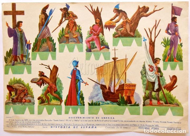 LAMINA RECORTABLE Nº 7 DESCUBRIMIENTO DE AMERICA. HISTORIA DE ESPAÑA. ROMA BARCELONA AÑOS 60 (Coleccionismo - Recortables - Soldados)