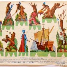 Coleccionismo Recortables: LAMINA RECORTABLE Nº 7 DESCUBRIMIENTO DE AMERICA. HISTORIA DE ESPAÑA. ROMA BARCELONA AÑOS 60. Lote 61974852
