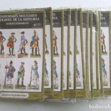 Coleccionismo Recortables: LOTE DE 80 RECORTABLES UNIFORMES MILITARES A TRAVÉS DE LA HISTORIA, AÑO 1980, INCLUYE GASTOS ENVÍO. Lote 76189559