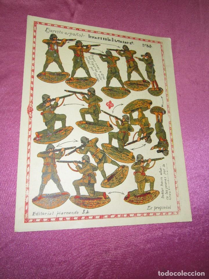 Coleccionismo Recortables: RECORTABLE EJERCITO ESPAÑOL INFANTERIA DISPARANDO EDITORIAL HERNANDO 804 AÑOS 20 30 - Foto 2 - 80140525