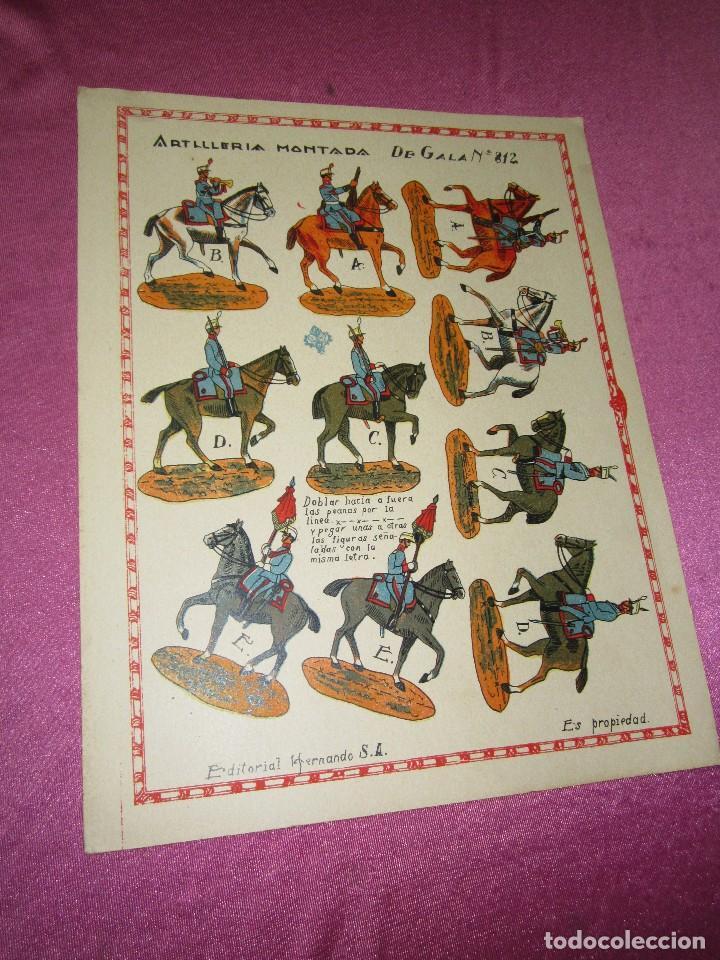 RECORTABLE EJERCITO ESPAÑOL ARTILLERIA MONTADA HERNANDO Nº 812 AÑOS 20 30 (Coleccionismo - Recortables - Soldados)