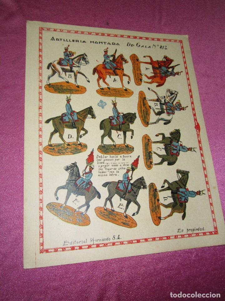 Coleccionismo Recortables: RECORTABLE EJERCITO ESPAÑOL ARTILLERIA MONTADA HERNANDO Nº 812 AÑOS 20 30 - Foto 2 - 80181265