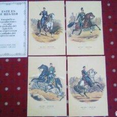 Coleccionismo Recortables: 4 REPRODUCCIONES EN COLOR DE GRABADOS DEL EJÉRCITO SUIZO SIGLO XIX. Lote 95469234