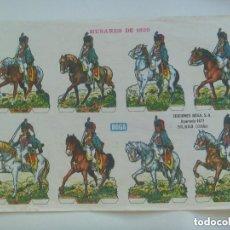 Coleccionismo Recortables: PLIEGO DE RECORTABLE DE SOLDADITOS DE CABALLERIA : HUSARES DE 1820 . DE BOGA ( BILBAO ).. Lote 115156847