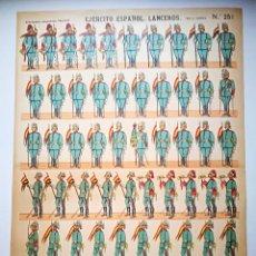 Coleccionismo Recortables: EJERCITO ESPAÑOL LANCEROS, ESTAMPERIA PALUZIE. Lote 121506039