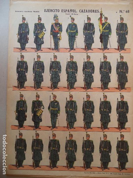 EJERCITO ESPAÑOL CAZADORES TRAJE DE GALA Nº 46 ESTAMPERIA ECONOMICA PALUZIE (Coleccionismo - Recortables - Soldados)