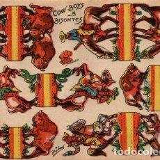Coleccionismo Recortables: ANTIGUO RECORTABLE COWBOYS Y BISONTES..SALIDA 0,01. Lote 129708840