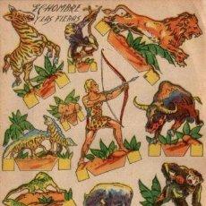 Coleccionismo Recortables: ANTIGUO RECORTABLE EL HOMBRE Y FIERAS...SALIDA 0,01. Lote 129708906