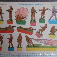 Coleccionismo Recortables: ANTIGUO RECORTABLE SOLDADOS PARACAIDISTAS ..SALIDA 0,01. Lote 129715319