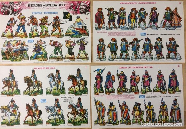 RECORTABLES HEROES Y SOLDADOS. EDICIONES BOGA. 1973. COLECCIÓN COMPLETA. (Coleccionismo - Recortables - Soldados)