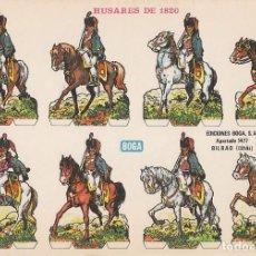 Coleccionismo Recortables: RECORTABLES: HUSARES DE 1820. EDICIONES BOGA C. MEDIDAS 21 X 31 CMS.. Lote 139564402