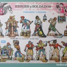Coleccionismo Recortables: RECORTABLES. HÉROES Y SOLDADOS. CORSARIOS Y PIRATAS. BOGA. BILBAO. ESPAÑA. 24 X 33.5 CM. Lote 141578838