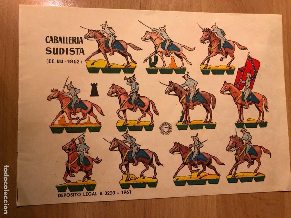 LAMINA RECORTABLES BRUGUERA 24X18 CM SOLDADOS CABALLERÍA SUDISTA EEUU 1862 (Coleccionismo - Recortables - Soldados)