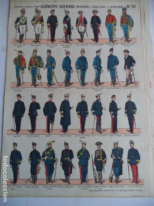 PALUZIE EJERCITO ESPAÑOL INFANTERIA,CABALLERIA Y ARTILLERIA Nº56 (Coleccionismo - Recortables - Soldados)