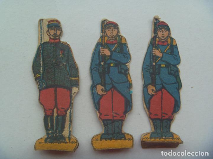 LOTE DE 3 FIGURAS DEL EJERCITO DE FRANCIA, 1ª GUERRA MUNDIAL . RECORTADOS Y MUY ANTIGUOS (Coleccionismo - Recortables - Soldados)