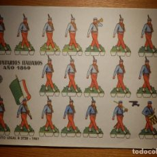 Coleccionismo Recortables: RECORTABLES - SOLDADITOS - VOLUNTARIOS ITALIANOS 1860 - B 3728 - 1961 - 24 X 18 CM - BRUGUERA . Lote 148116658